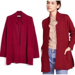 NWT Madewell Spencer Sweater Coat, Hthr Burgundy